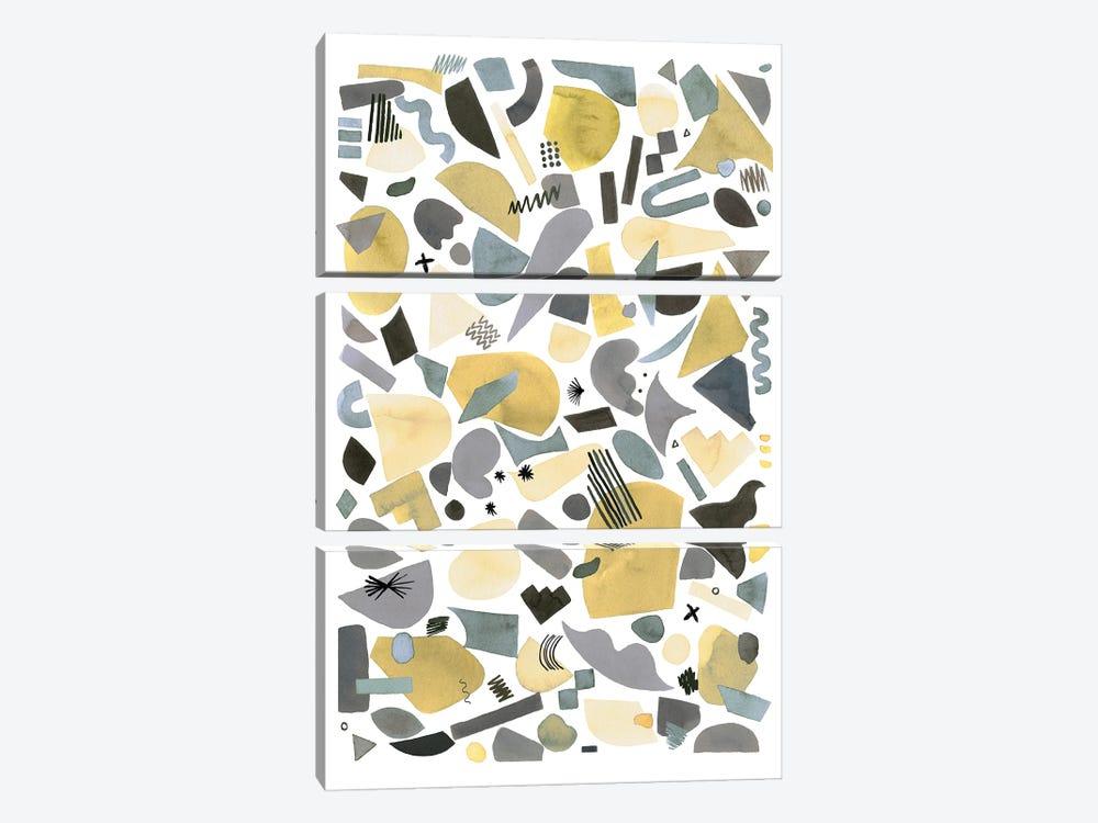 Geometric Pieces Silver Gold by Ninola Design 3-piece Canvas Art