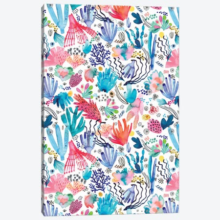 Watercolor Coral Reef Multicolored Canvas Print #NDE193} by Ninola Design Canvas Print