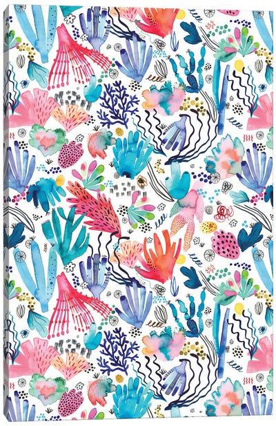 Watercolor Coral Reef Multicolored Canvas Art Print
