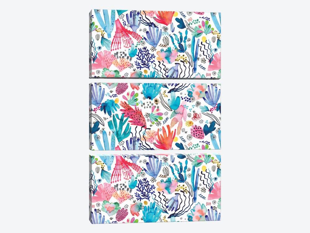 Watercolor Coral Reef Multicolored by Ninola Design 3-piece Art Print