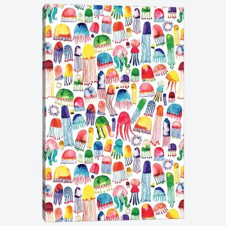 Watercolor Marine Jellyfish Canvas Print #NDE194} by Ninola Design Canvas Wall Art