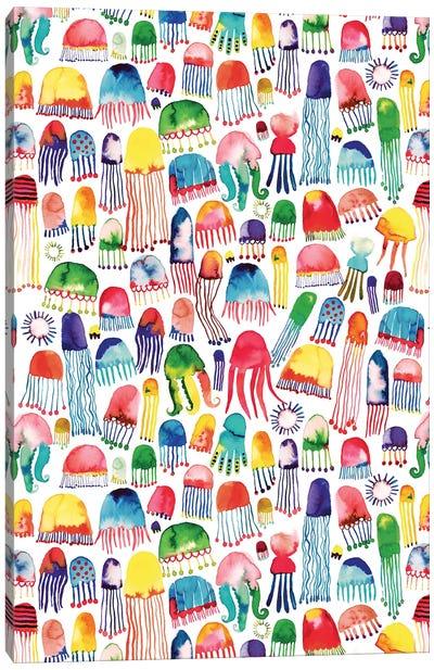 Watercolor Marine Jellyfish Canvas Art Print