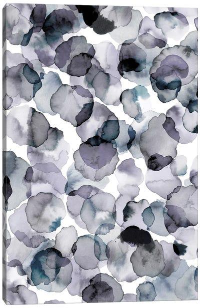 Watercolor Petals Gray Canvas Art Print