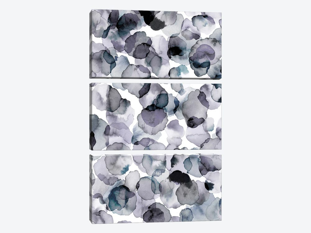 Watercolor Petals Gray by Ninola Design 3-piece Canvas Print