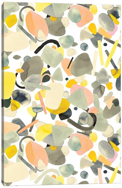 Abstract Geometric Shapes Yellow Canvas Art Print
