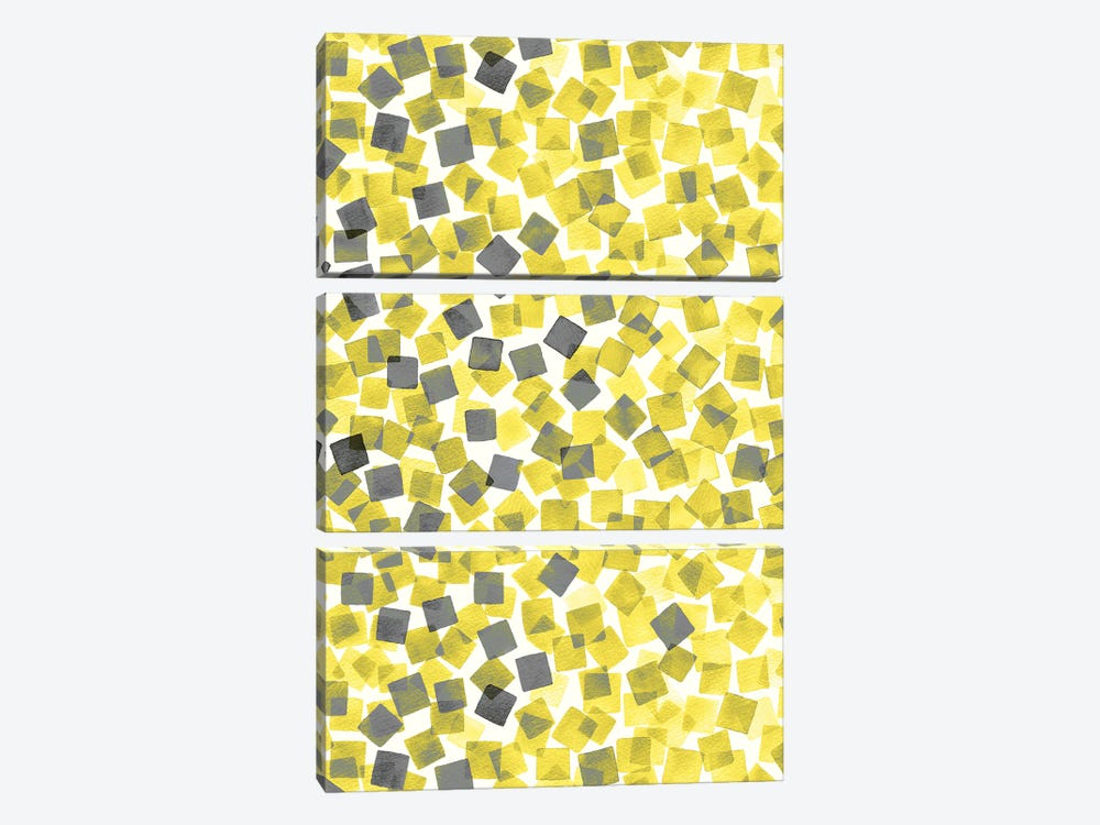 Confetti Illuminating Yellow by Ninola Design 3-piece Canvas Art Print