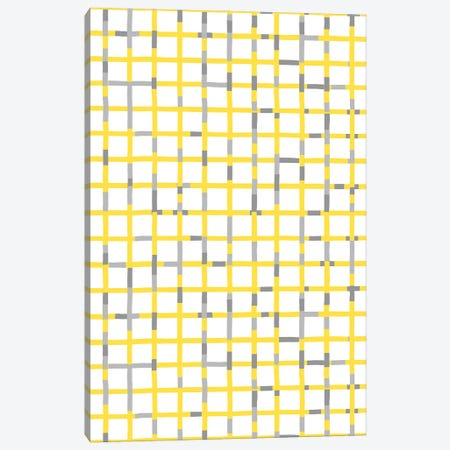 Grid Lines Illuminating Yellow Ultimate Gray Canvas Print #NDE200} by Ninola Design Canvas Art Print