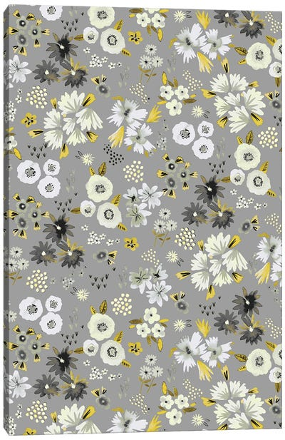Little Flowers Ultimate Gray Canvas Art Print