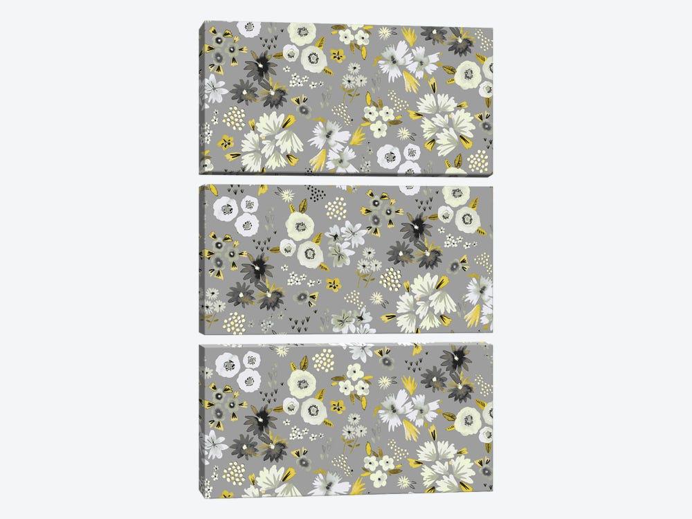 Little Flowers Ultimate Gray by Ninola Design 3-piece Canvas Art Print