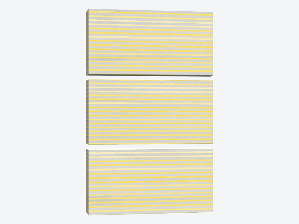 Marker Stripes Illuminating Yellow Ultimate by Ninola Design 3-piece Canvas Art Print