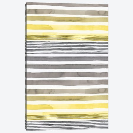Stripes Illuminating Yellow Ultimate Gray Canvas Print #NDE205} by Ninola Design Canvas Art