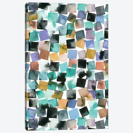 Watercolor Geometric Abstract Plaids Canvas Print #NDE208} by Ninola Design Canvas Print
