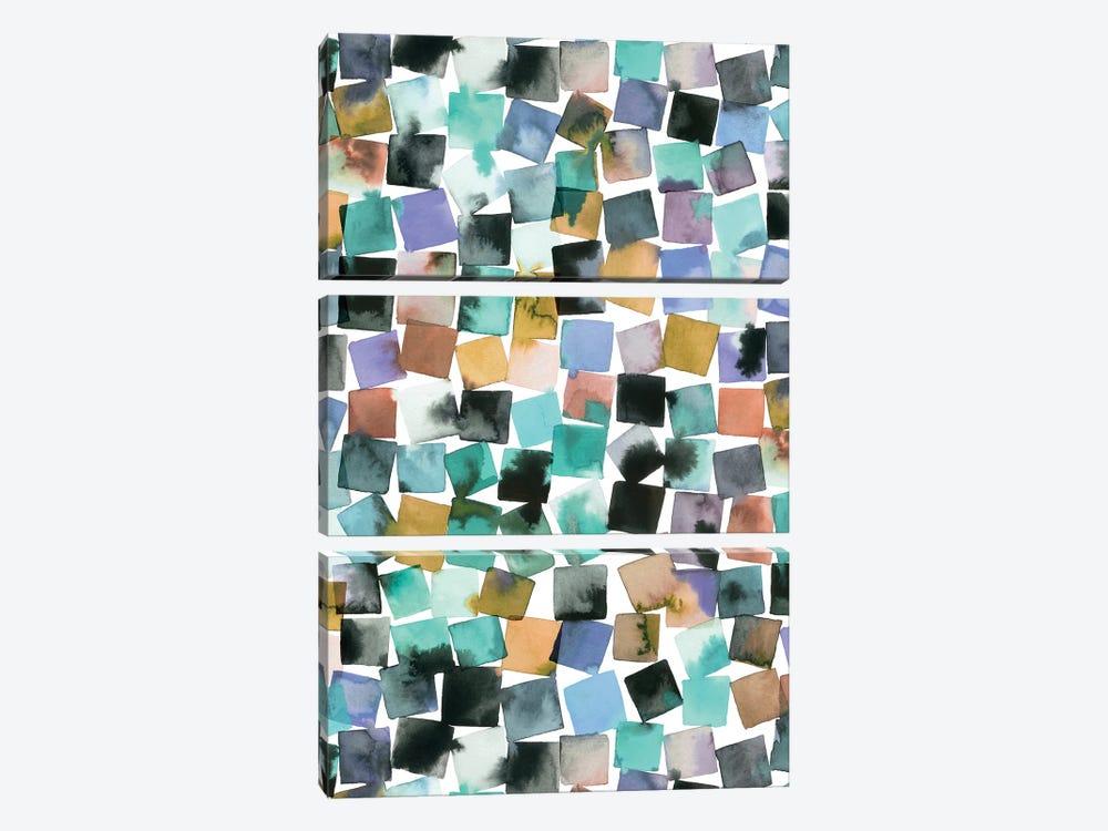 Watercolor Geometric Abstract Plaids by Ninola Design 3-piece Canvas Art Print