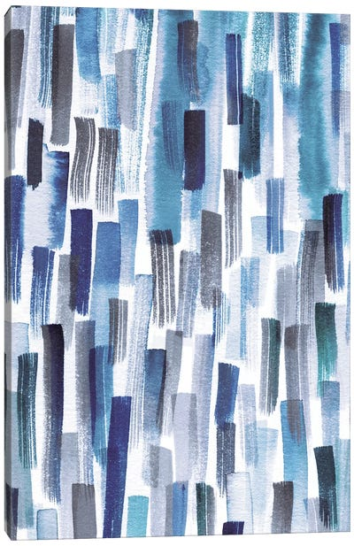 Colorful Brushstrokes Indigo Canvas Art Print