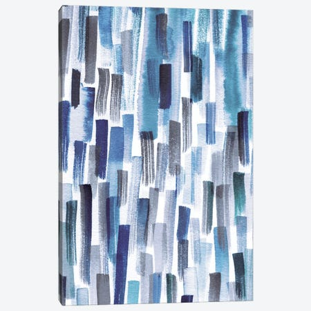 Colorful Brushstrokes Indigo 3-Piece Canvas #NDE20} by Ninola Design Canvas Artwork