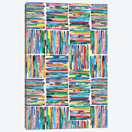 Handpainted Colorful Square Stripes Canvas Print #NDE210} by Ninola Design Canvas Art