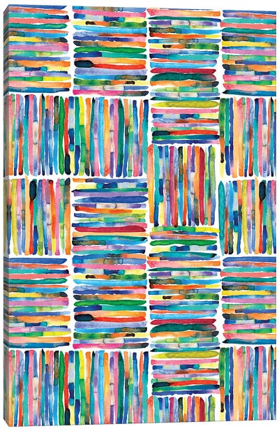 Handpainted Colorful Square Stripes Canvas Art Print