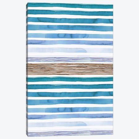 Watercolor Sunset Stripes Blue Canvas Print #NDE211} by Ninola Design Canvas Art