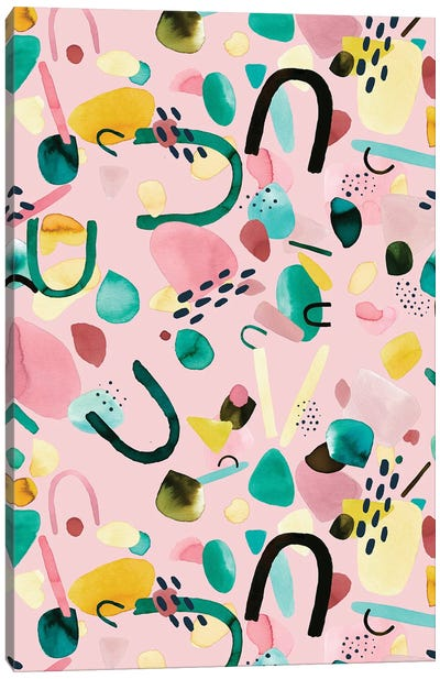 Abstract Geometric Pieces Pink Green Canvas Art Print