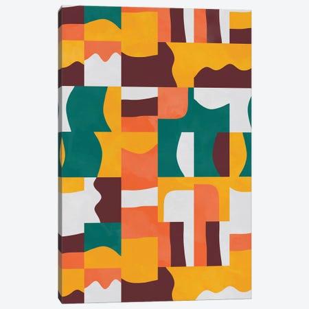 Organic Cubes And Shapes Green Orange Canvas Print #NDE217} by Ninola Design Canvas Art Print