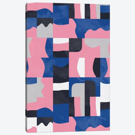 Organic Cubes And Shapes Blue Pink Canvas Print #NDE218} by Ninola Design Canvas Art