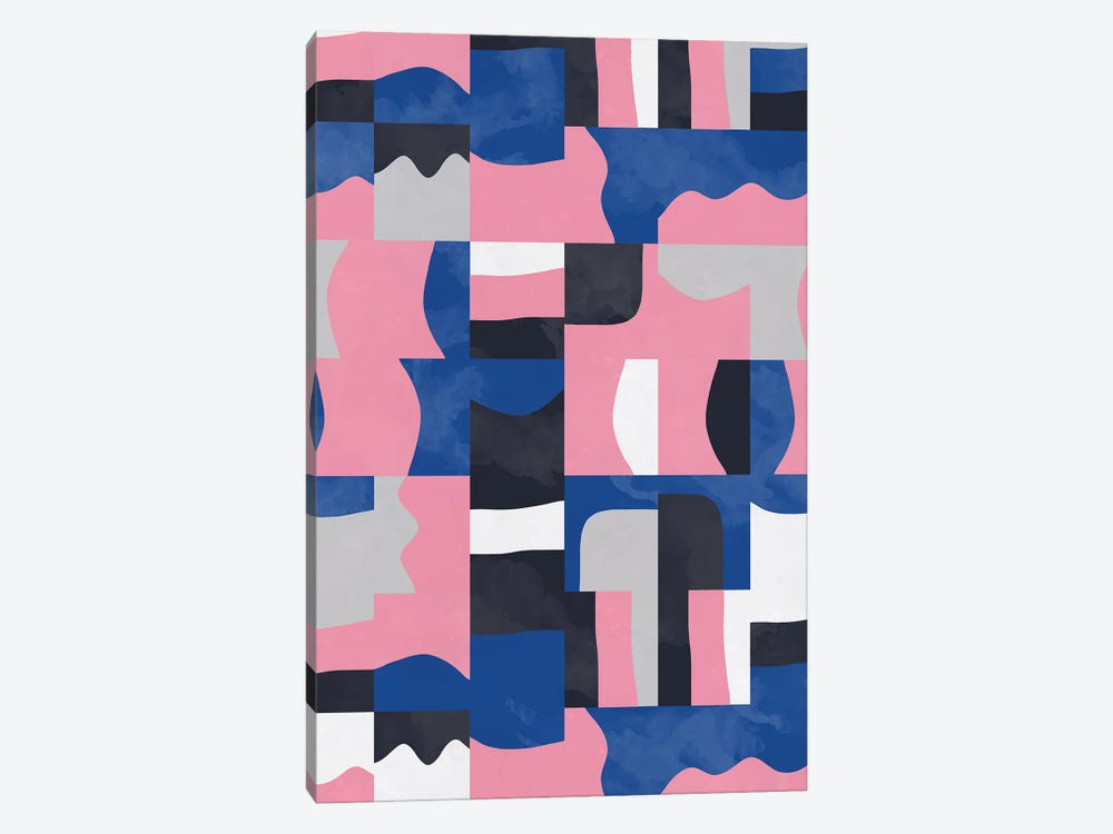 Organic Cubes And Shapes Blue Pink by Ninola Design 1-piece Canvas Wall Art