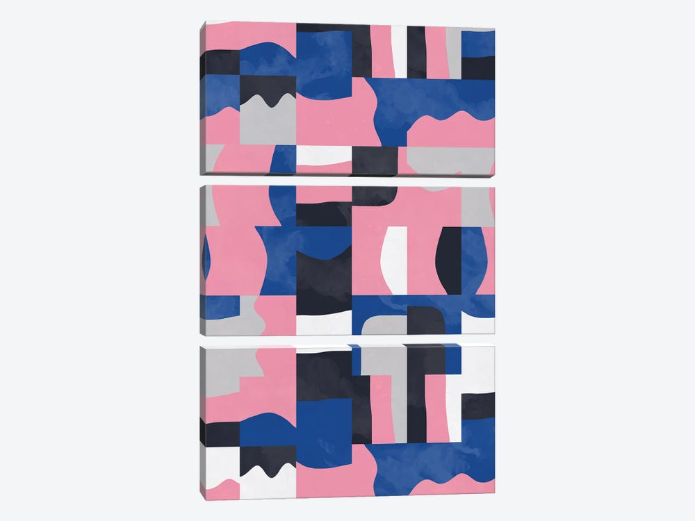 Organic Cubes And Shapes Blue Pink by Ninola Design 3-piece Canvas Artwork