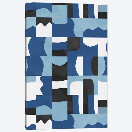 Organic Cubes And Shapes Blue Black Canvas Print #NDE219} by Ninola Design Canvas Artwork