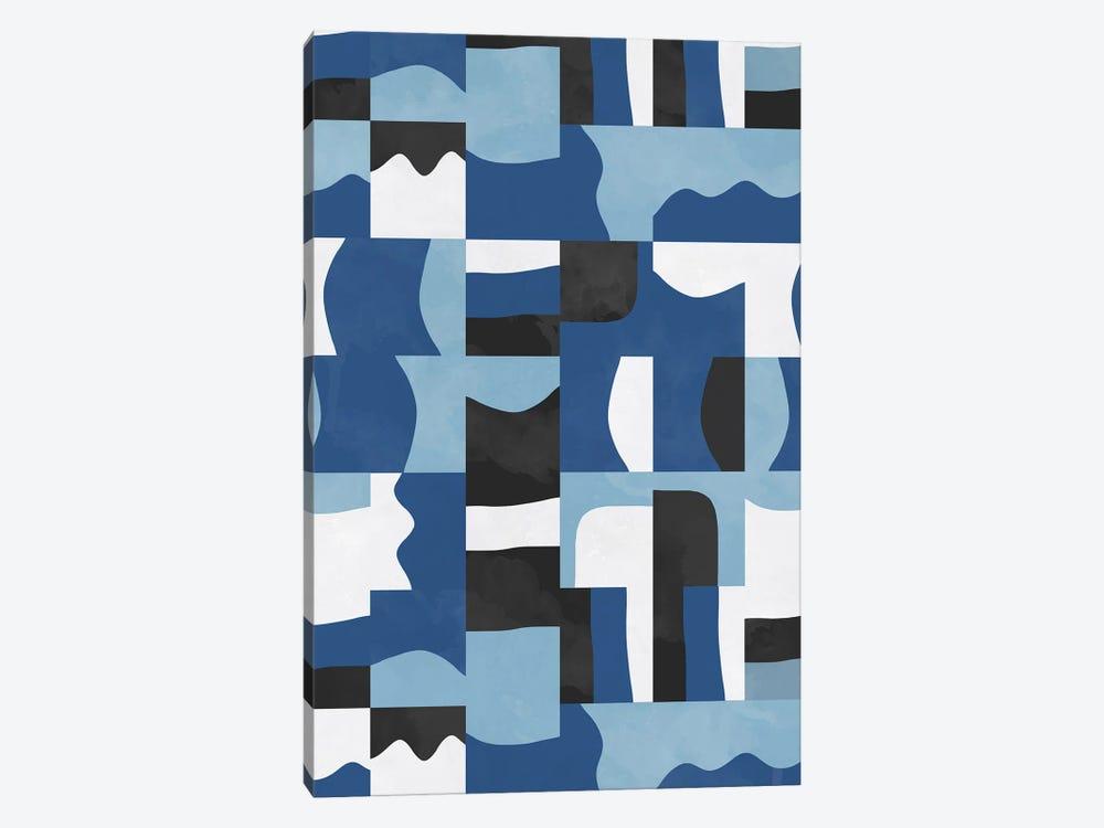 Organic Cubes And Shapes Blue Black by Ninola Design 1-piece Art Print