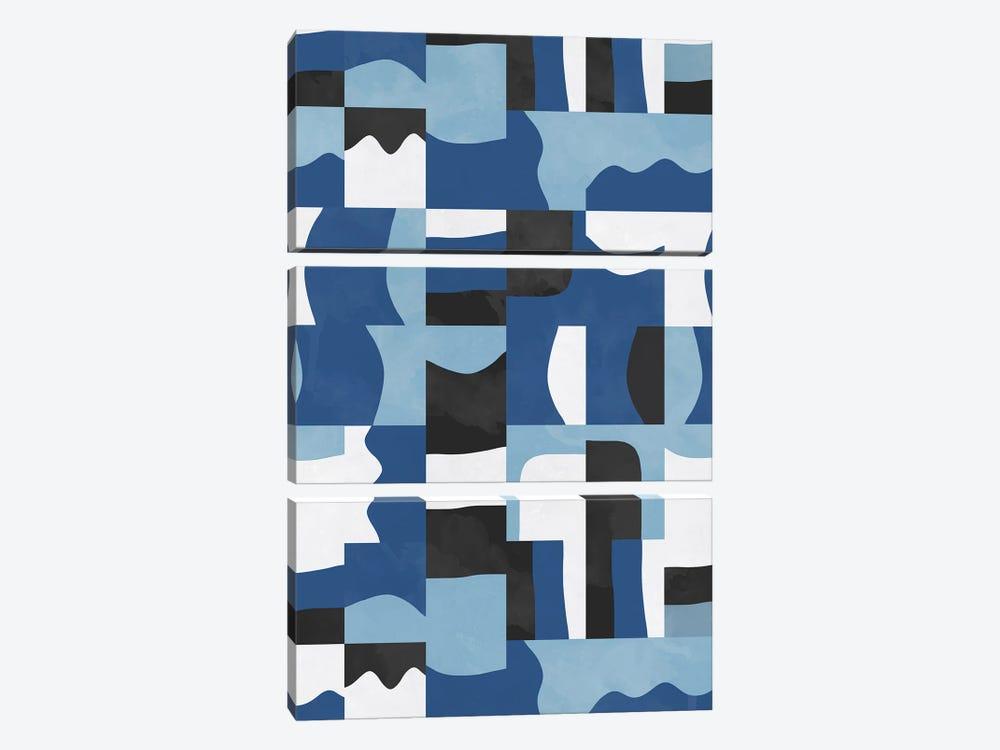Organic Cubes And Shapes Blue Black by Ninola Design 3-piece Canvas Art Print