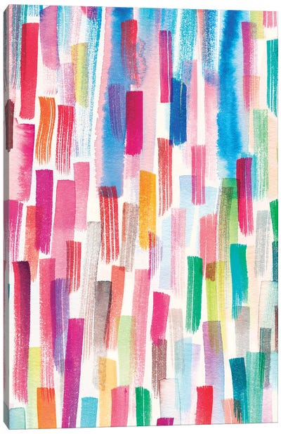 Colorful Brushstrokes Multicolored Canvas Art Print