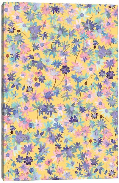 Daisies Floral Mustard Canvas Art Print
