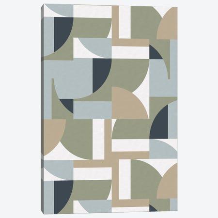 Futuristic Bauhaus Polygons Beige Canvas Print #NDE222} by Ninola Design Art Print