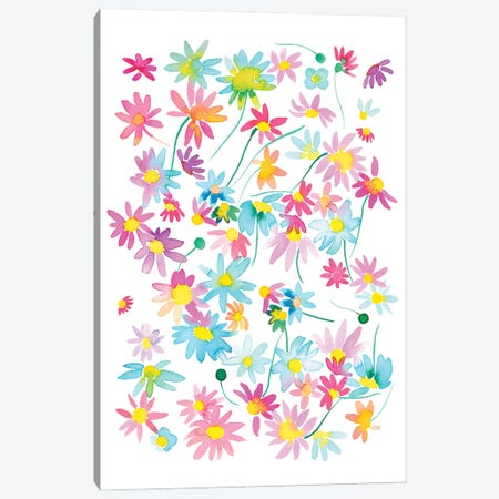 Watercolor Colorful Floral Daisies Canvas Print #NDE224} by Ninola Design Canvas Art