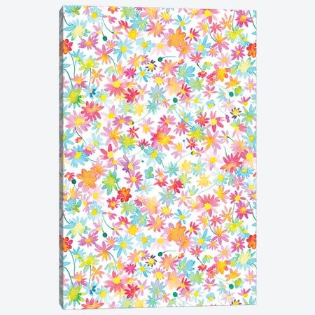 Watercolor Daisies Floral Pink Canvas Print #NDE225} by Ninola Design Canvas Wall Art