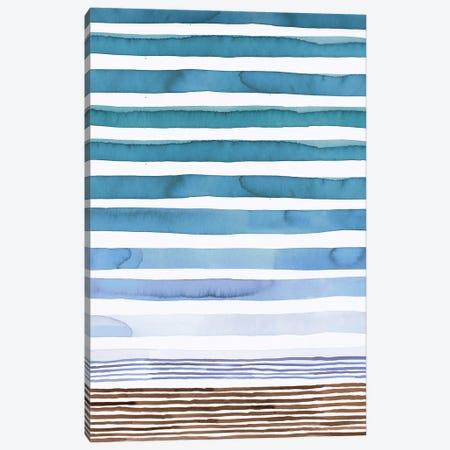 Marine Watercolor Stripes Canvas Print #NDE227} by Ninola Design Canvas Artwork