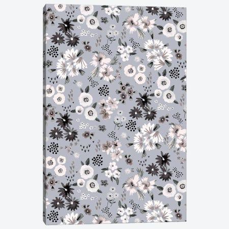 Little Flowers Ecru Gray Canvas Print #NDE228} by Ninola Design Art Print