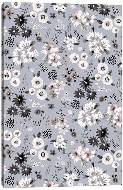 Little Flowers Ecru Gray Canvas Art Print