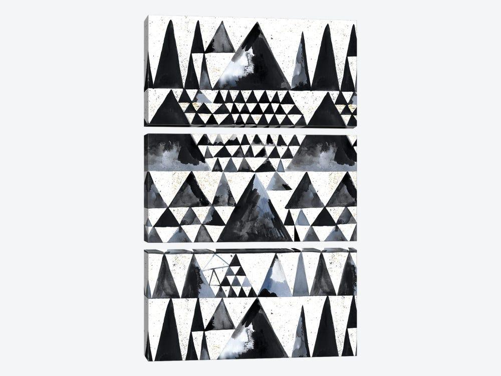 Japandi Ink Scandi Minimal Triangles by Ninola Design 3-piece Canvas Artwork