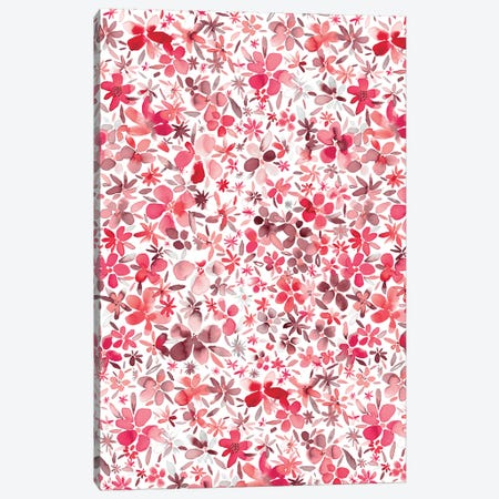Colorful Flowers Petals Coral  Canvas Print #NDE22} by Ninola Design Canvas Wall Art