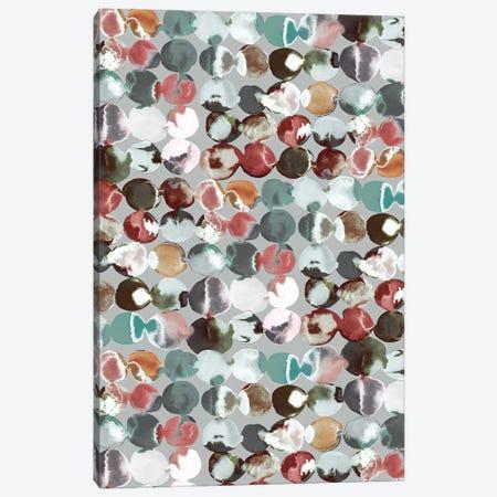 Ink Dots Green Gray Canvas Print #NDE230} by Ninola Design Canvas Wall Art