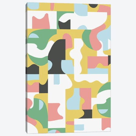 Organic Matisse Blocks Pink Mustard Canvas Print #NDE239} by Ninola Design Canvas Artwork