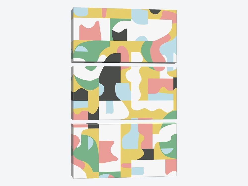 Organic Matisse Blocks Pink Mustard by Ninola Design 3-piece Art Print