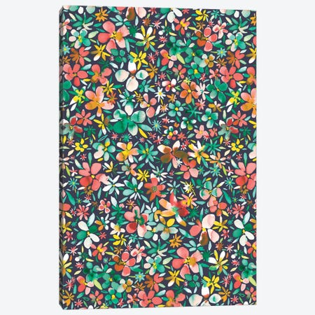 Colorful Flowers Petals Green Canvas Print #NDE23} by Ninola Design Canvas Art