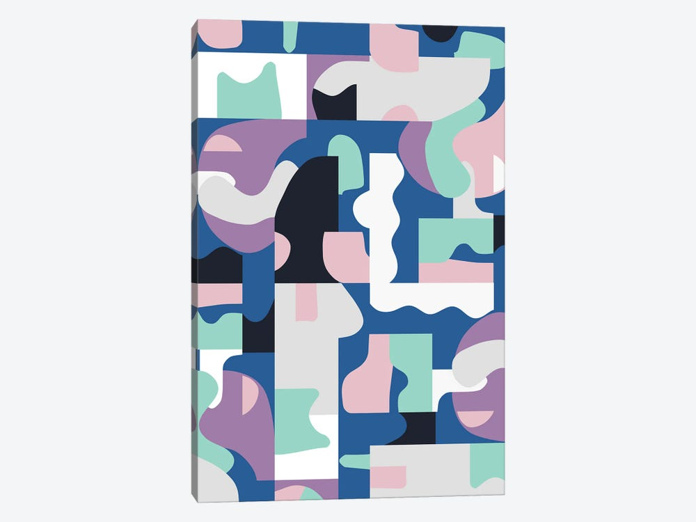 Organic Matisse Blocks Blue Pink by Ninola Design 1-piece Canvas Print