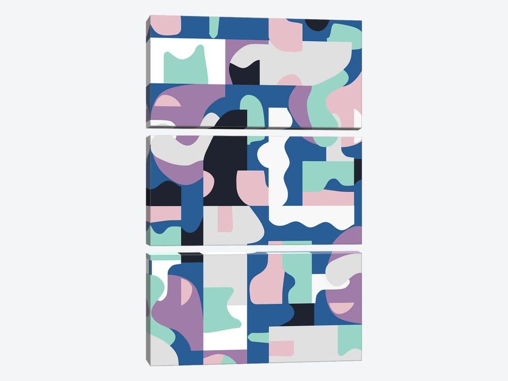 Organic Matisse Blocks Blue Pink by Ninola Design 3-piece Canvas Print