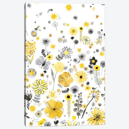 Positive Watercolor Flowers Yellow Canvas Print #NDE243} by Ninola Design Canvas Print