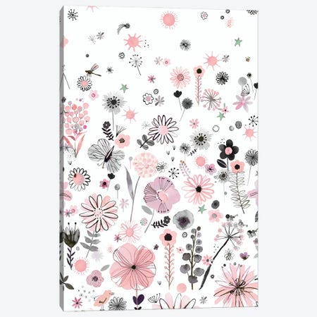 Positive Watercolor Flowers Pink Canvas Print #NDE244} by Ninola Design Canvas Wall Art