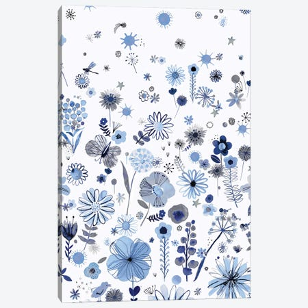 Positive Watercolor Flowers Blue Canvas Print #NDE245} by Ninola Design Canvas Art