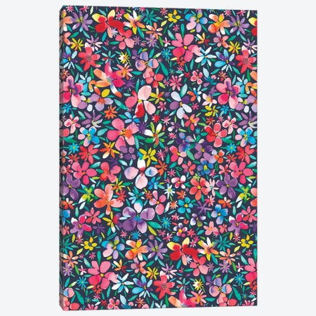 Colorful Flowers Petals Navy Canvas Print #NDE24} by Ninola Design Art Print